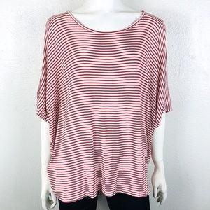 Bobeau Size XL Cold Shoulder Top Red White Striped